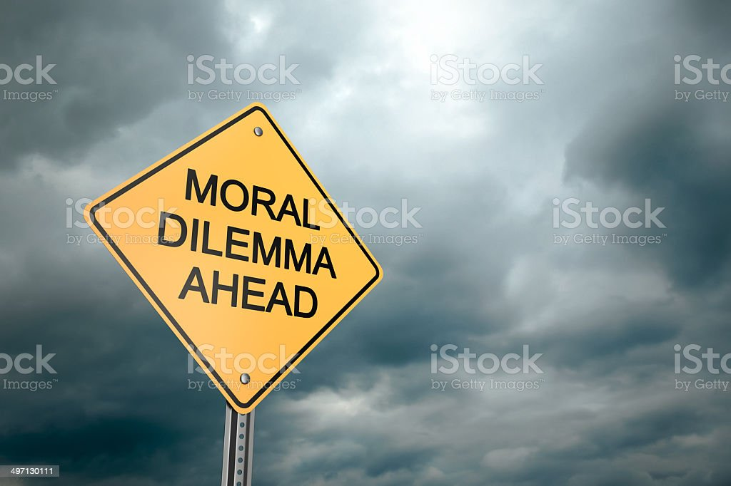 Moral Dilemma Ahead stock photo