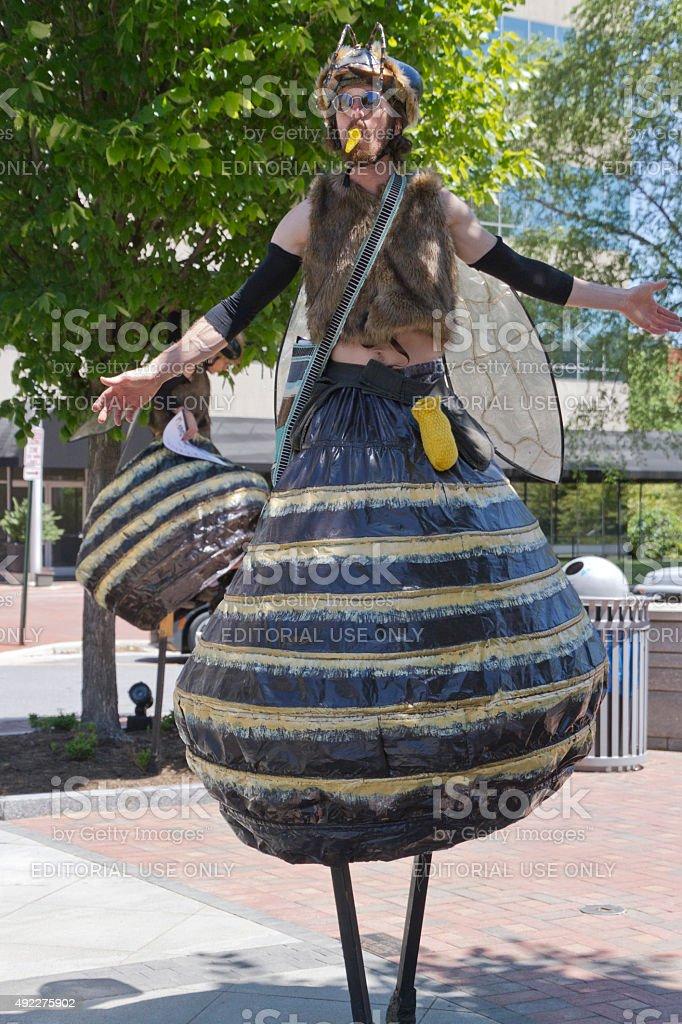 Moral Monday Demonstrator in Creatve Bee Costume stock photo