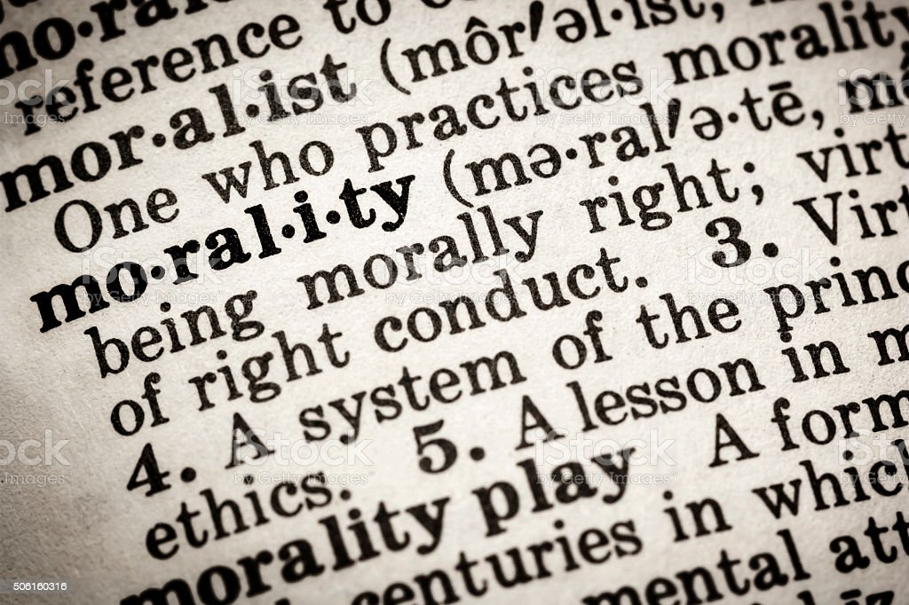 Morality Dictionary Definition stock photo