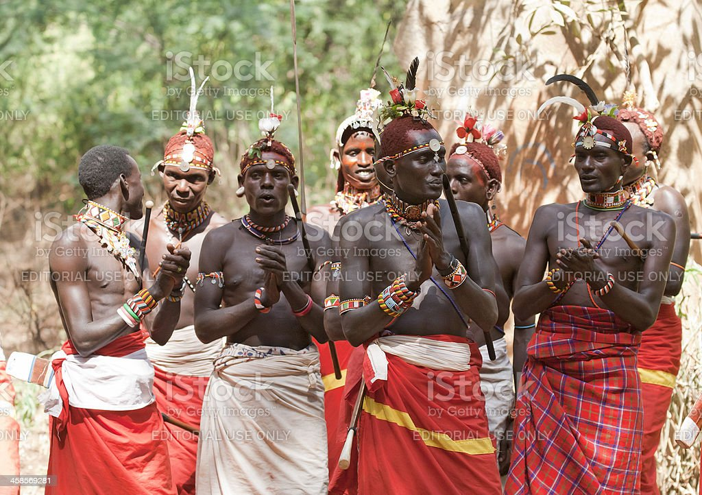 Morani (warriors) from the Samburu tribe performing stock photo