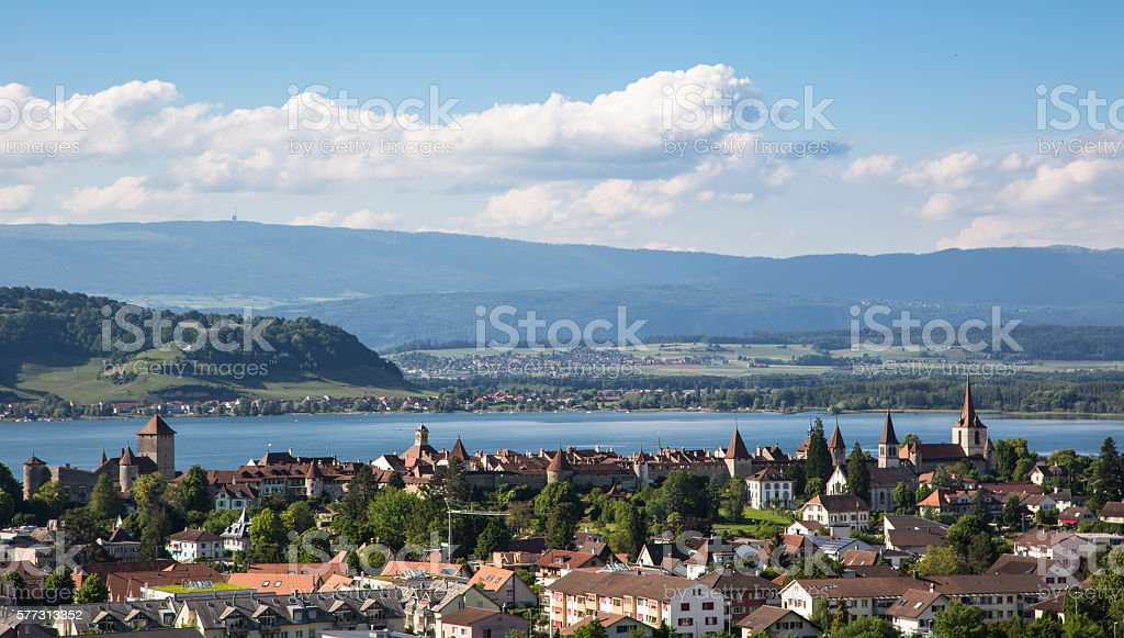 Morat old town in Switzerland stock photo