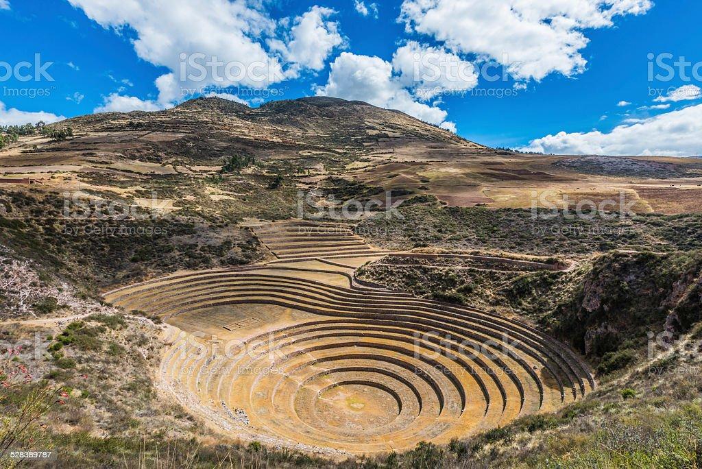 Moray ruins peruvian Andes  Cuzco Peru stock photo