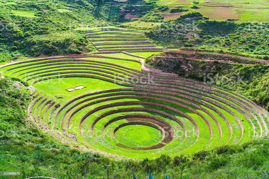 Moray, the Incan agricultural laboratory stock photo