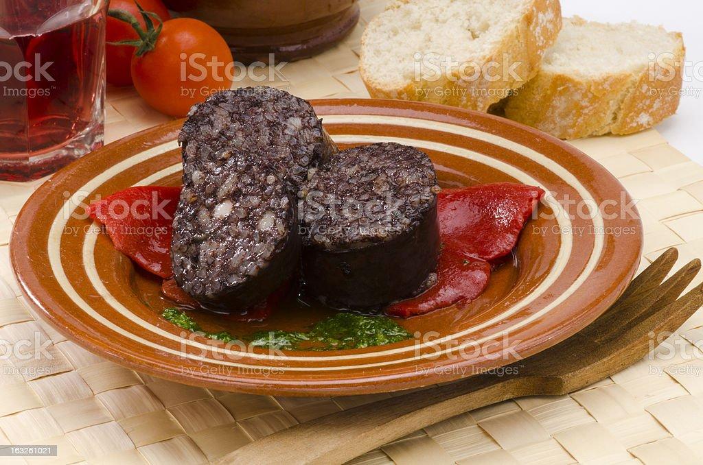 Morcilla de Burgos, Spanish black pudding stock photo