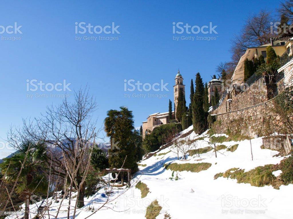 Morcote, Church of Santa Maria del Sasso. stock photo