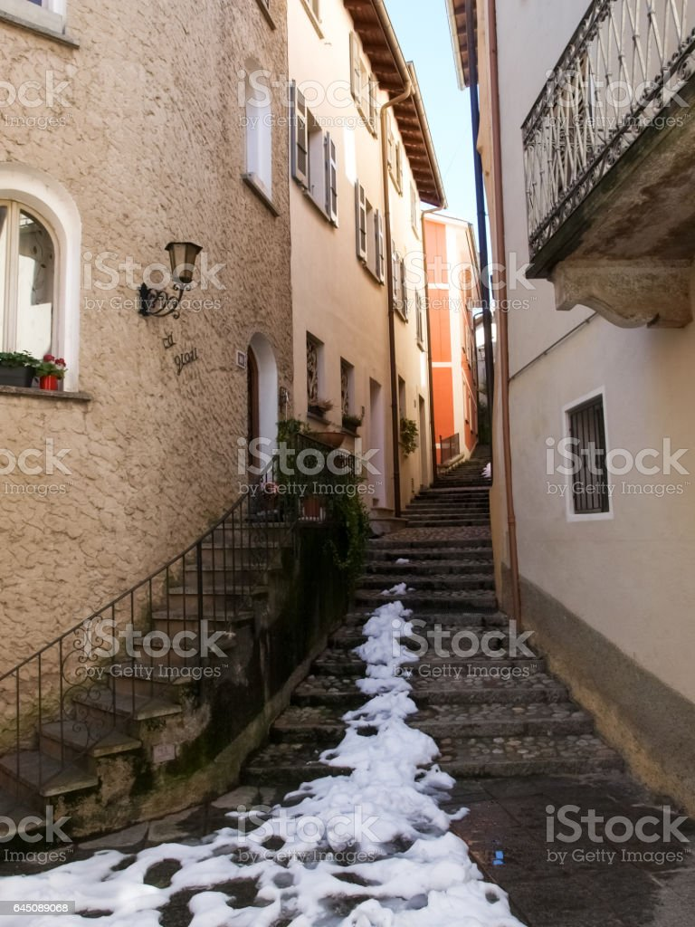 Morcote, houses and alley stock photo