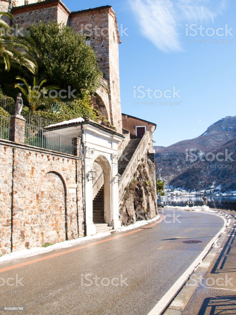 Morcote, image of parts of the village. stock photo