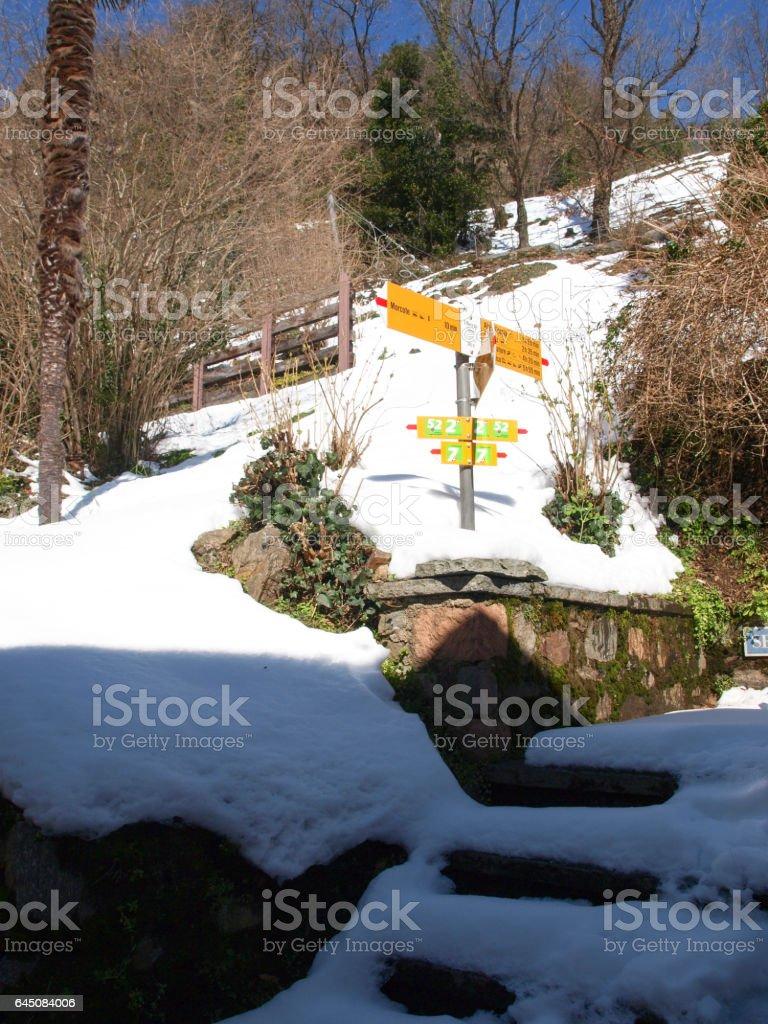 Morcote, snowy trail. stock photo