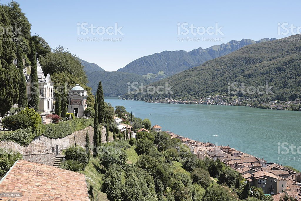 Morcote village and Lake Lugano, Switzerland stock photo