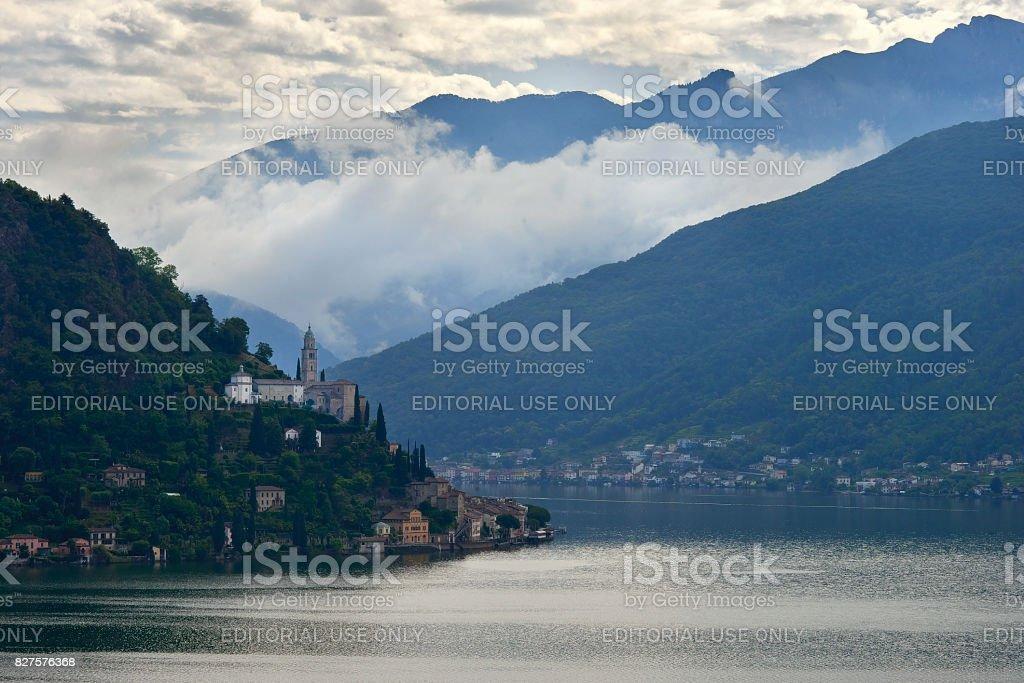 Morcote village with the Church of Santa Maria del Sasso. Lake Lugano stock photo