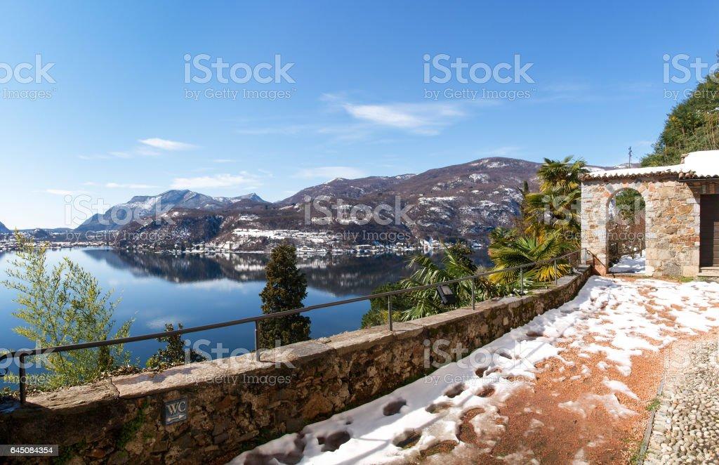 Morcote, winter panoramic view stock photo
