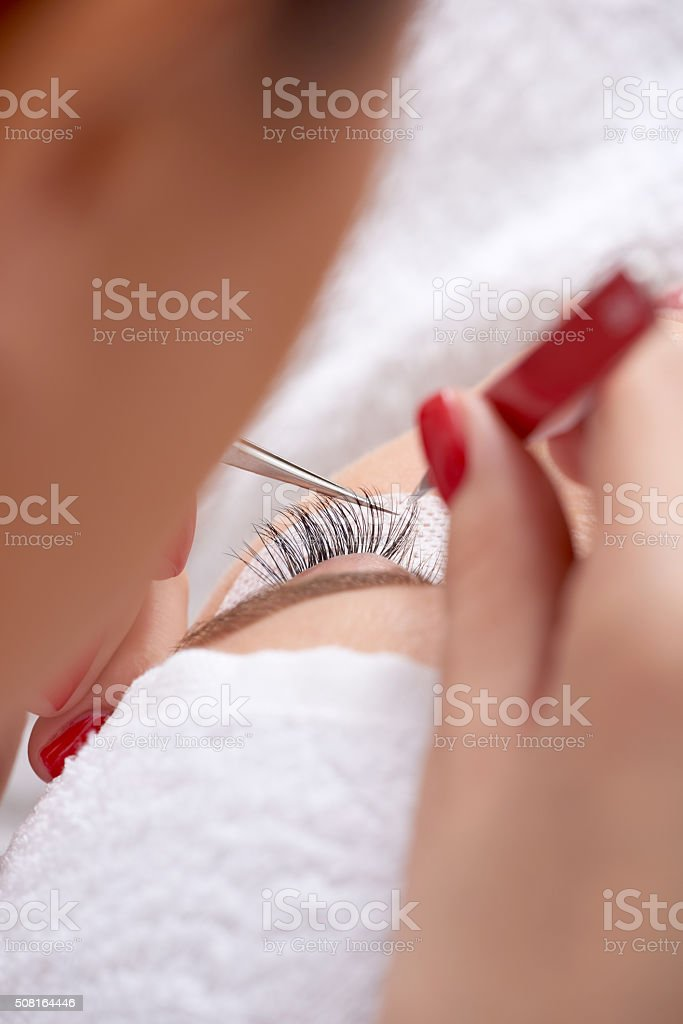 more beautiful with these false eyelashes stock photo