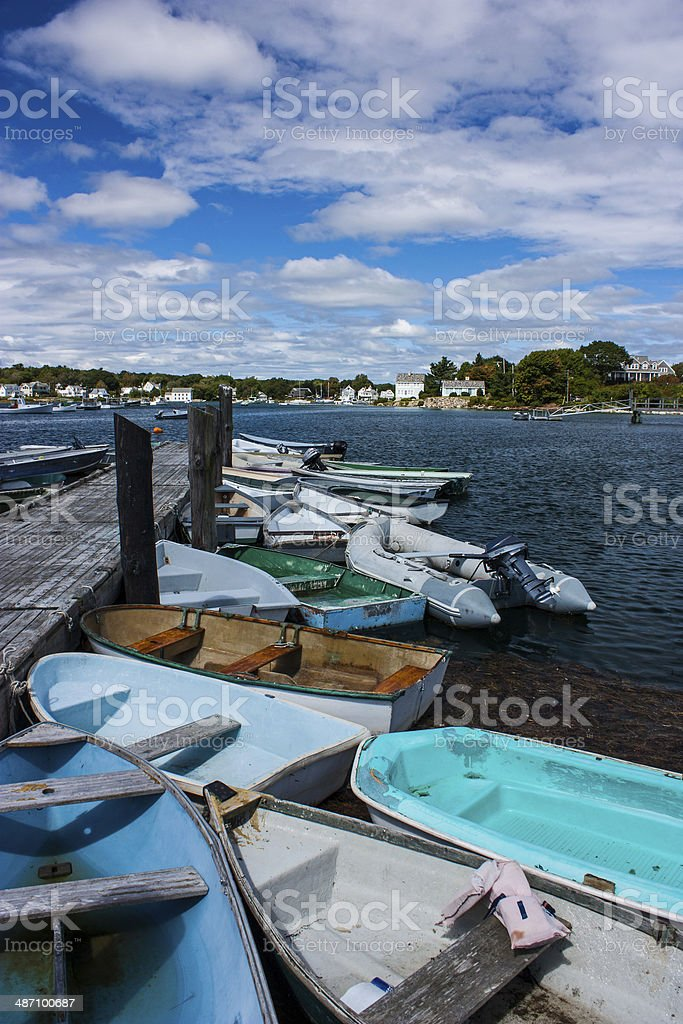 more boats at rest Kennebunkport Maine stock photo