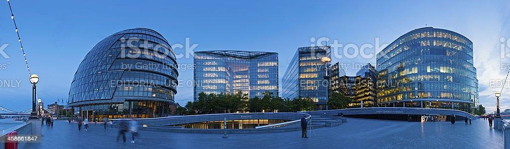 More London Riverside towers illuminated City Hall panorama royalty-free stock photo