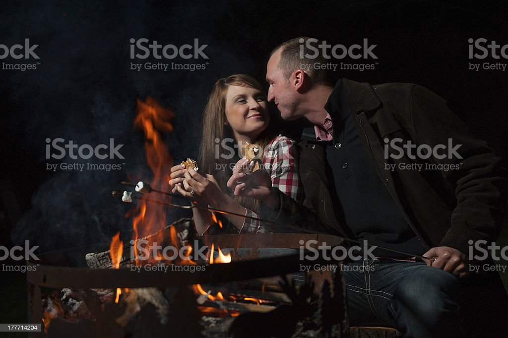 S'more love over a fire stock photo