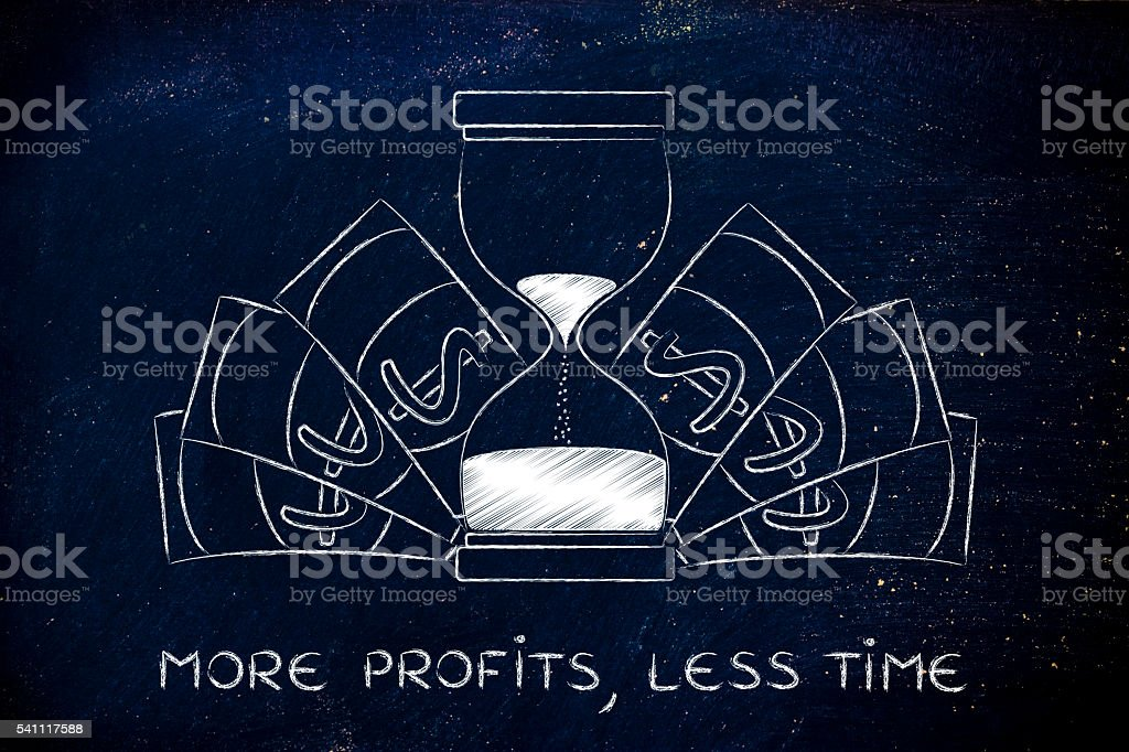 more profits in less time: hourglass with cash stock photo