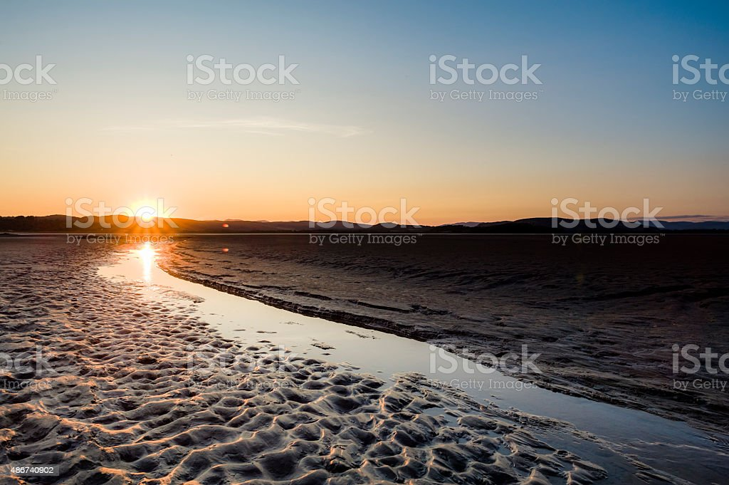 Morecambe Bay: River Kent estuary at low tide stock photo