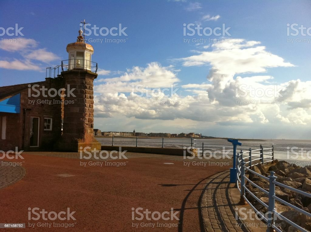 Morecambe Pier Lighthouse stock photo