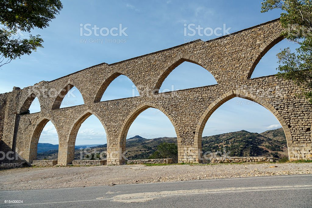 Morella aqueduct in Castellon Maestrazgo at Spain stock photo
