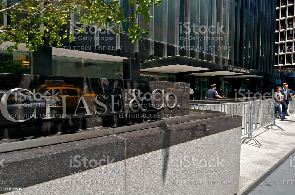 JP Morgan Chase & Co. Headquarters entrance, Park Ave, NYC royalty-free stock photo