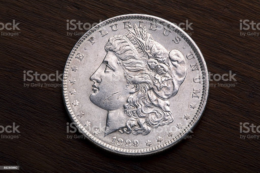 Morgan Silver Dollar stock photo