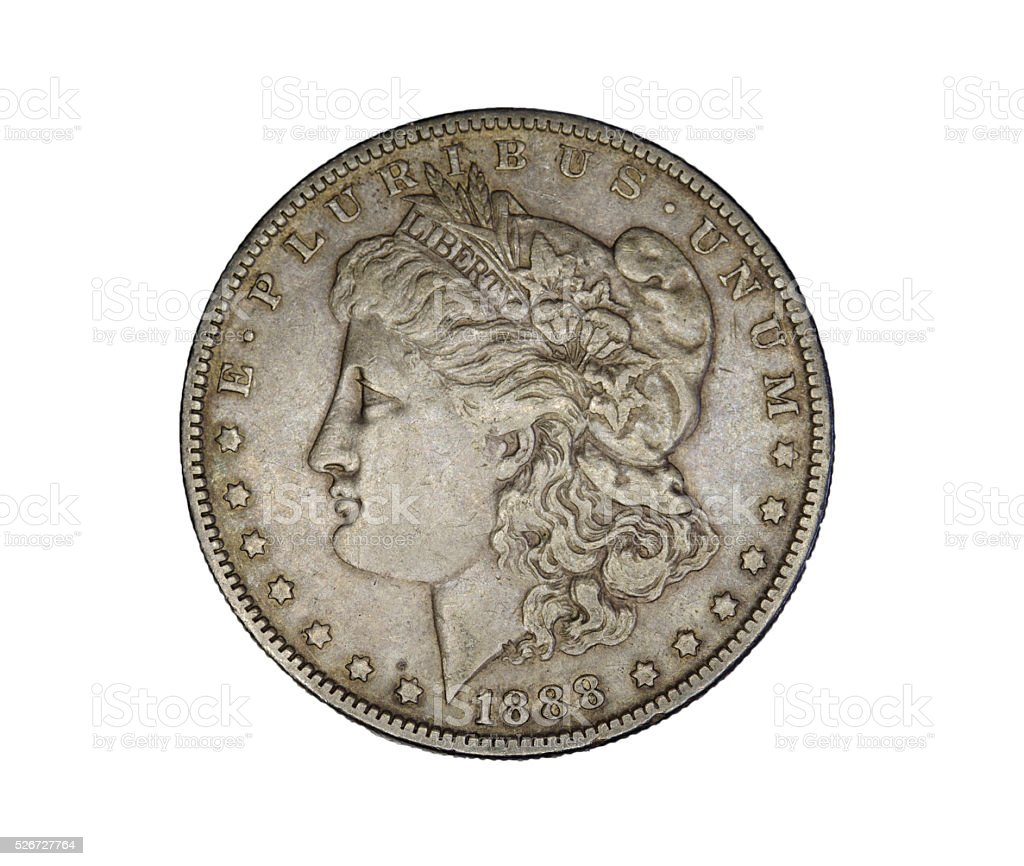 Morgan silver dollar - us currency stock photo