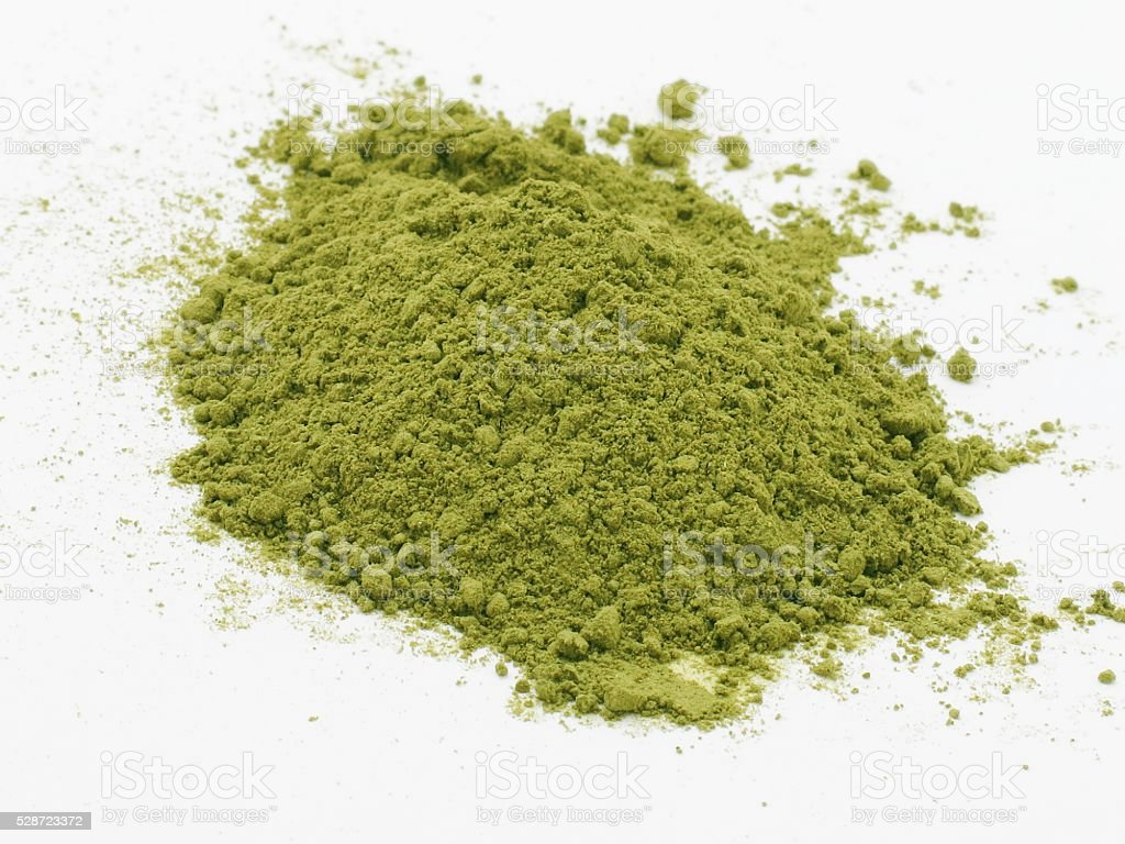 Moringa oleifera leaves powder stock photo