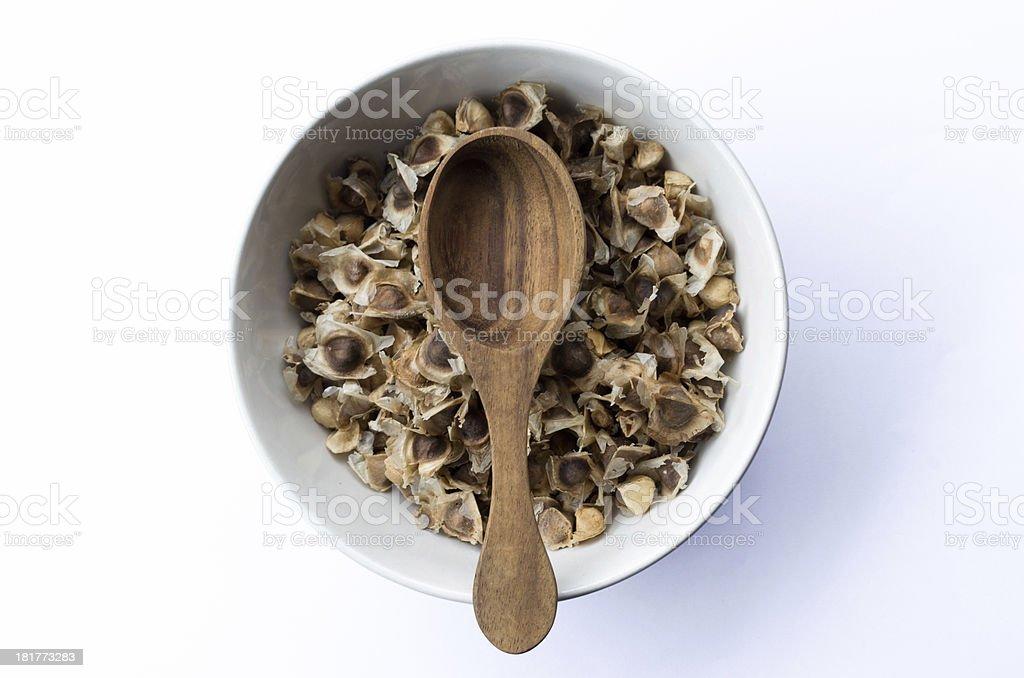 Moringa seeds dry royalty-free stock photo