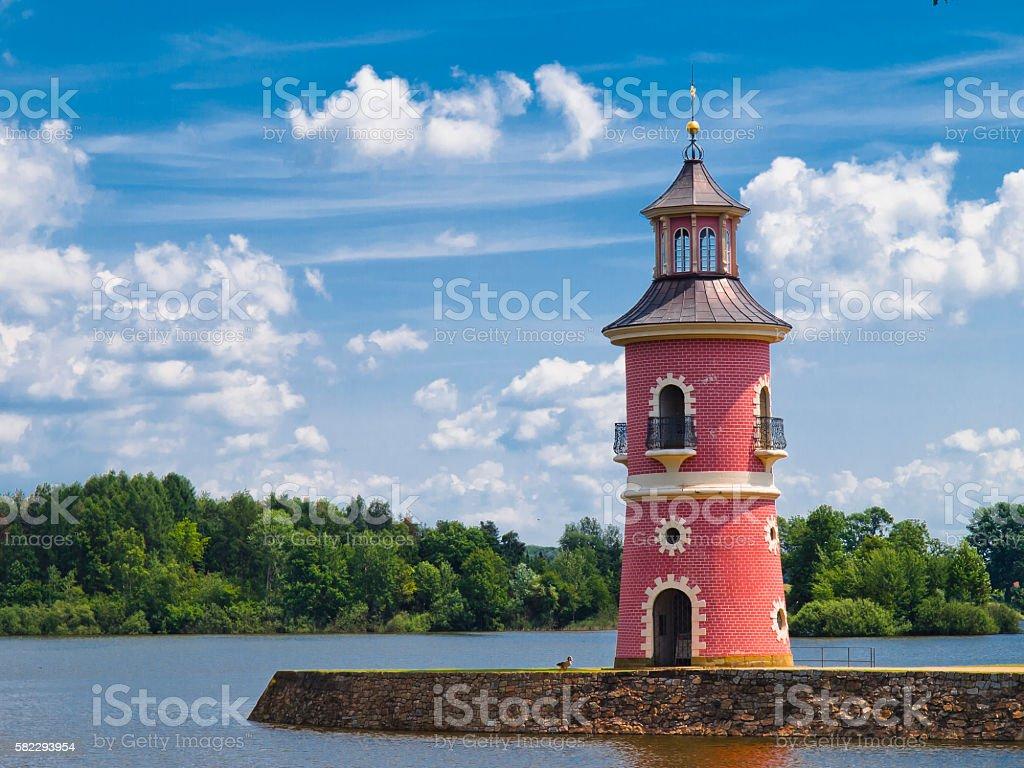 Moritzburg lighthouse stock photo
