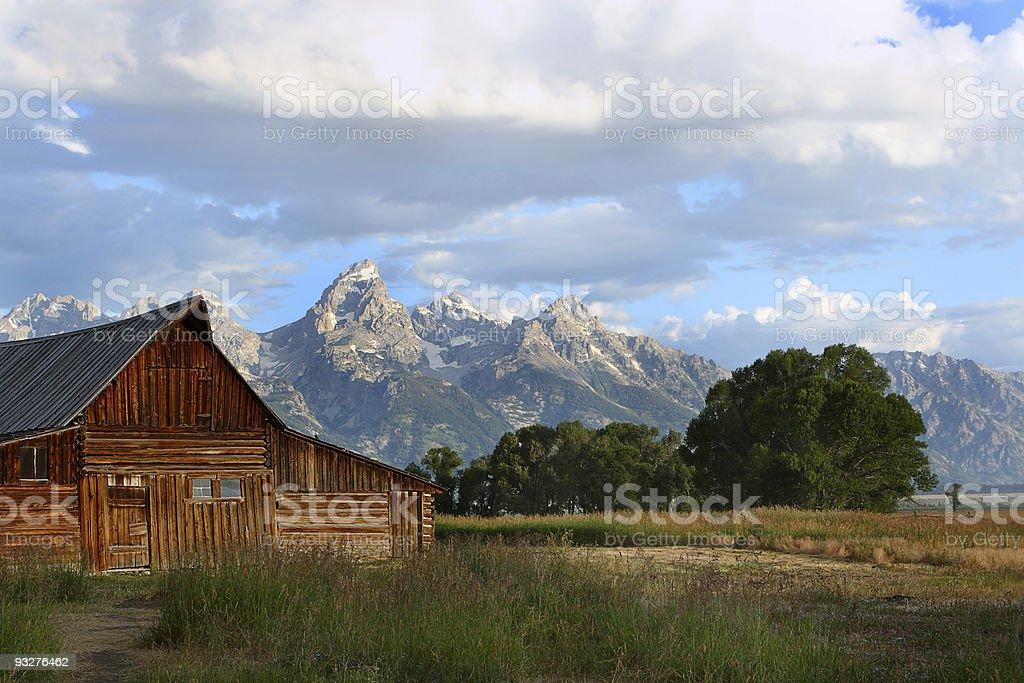 Mormon barns and Teton sunrise stock photo