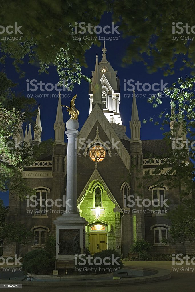 Mormon Church and Gull Monument royalty-free stock photo