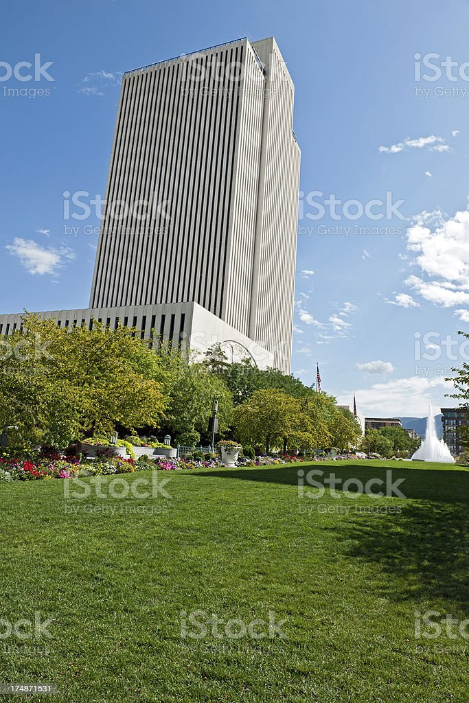 Mormon LDS Office Building Salt Lake City USA stock photo