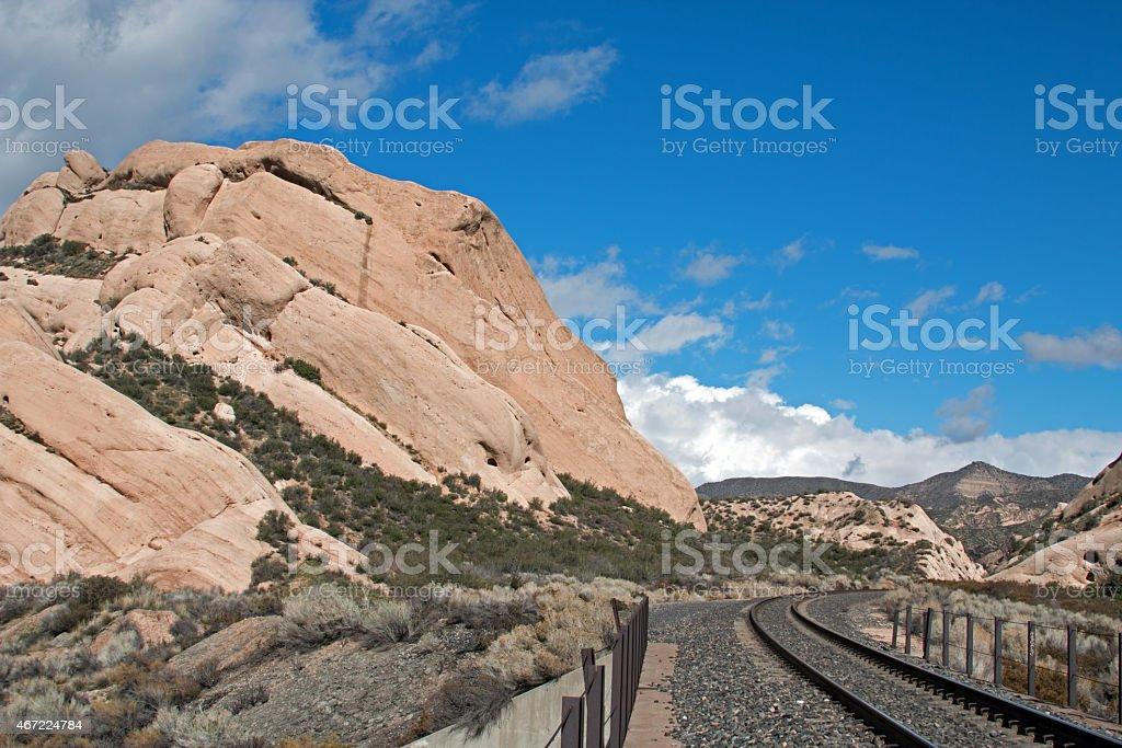 Mormon Rocks railroad tracks - High Desert Mountains of California stock photo