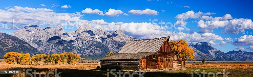 Mormon Row Barn Panorama stock photo
