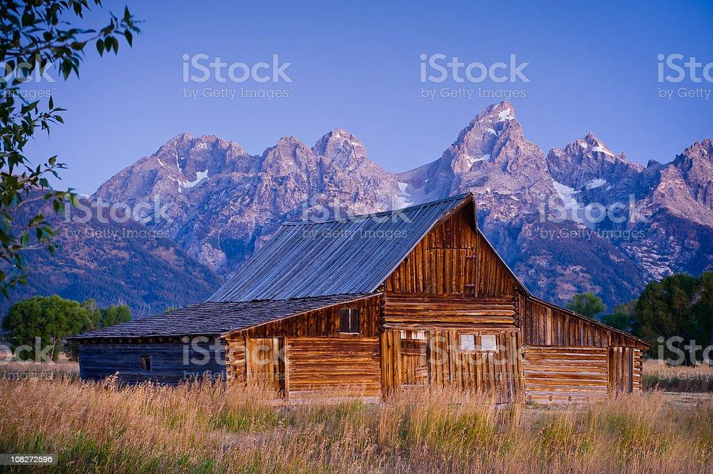 Mormon Row Moulton Barn Teton Mountains Wyoming stock photo