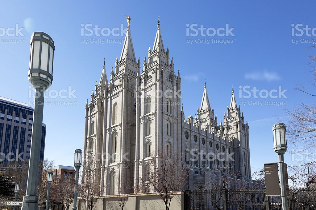 Mormon Temple in Salt Lake City, Utah stock photo
