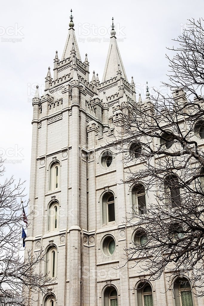Mormon Temple Salt Lake City, Utah in Early Spring stock photo