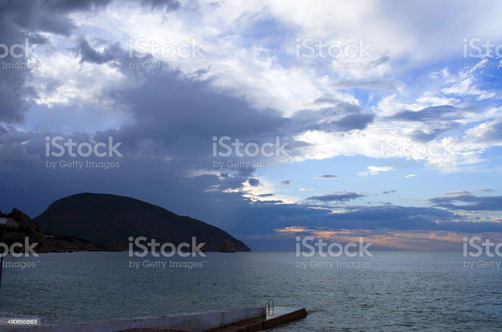 Mornig sea at sunrise in the bay Chekhov stock photo