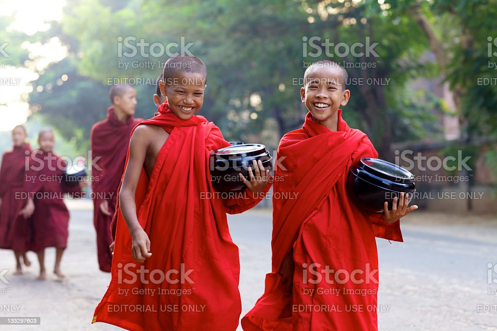 Morning Alms in Myanmar stock photo