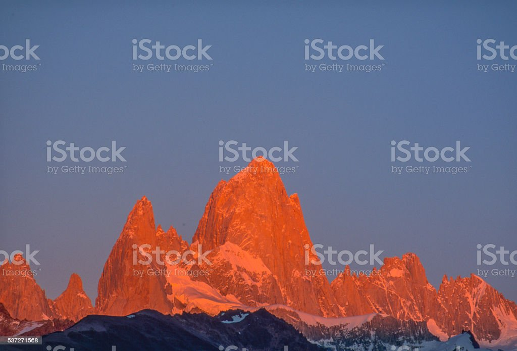 Morning alpenglow on Mount Fitzhugh stock photo