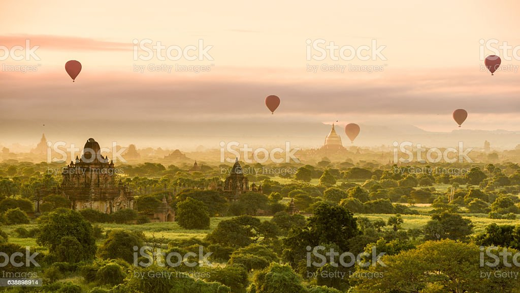 Morning at Bagan with hot air balloons stock photo