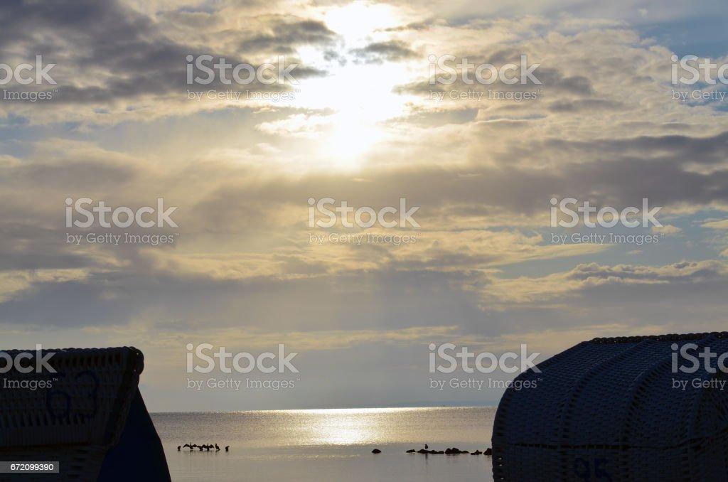 Morning at beach stock photo