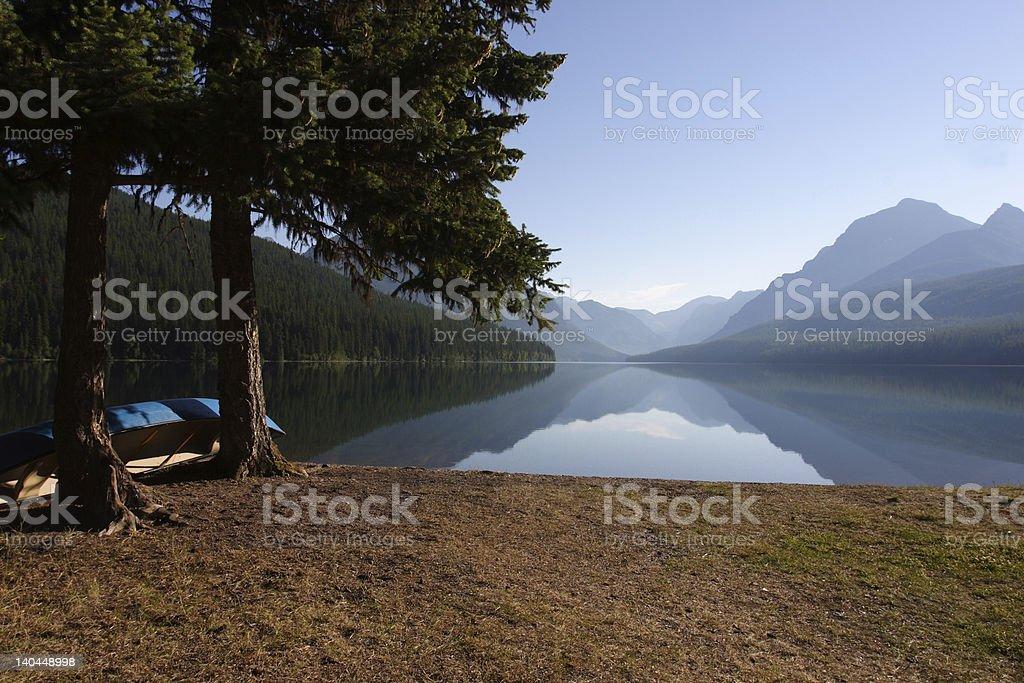 Morning at Bowman Lake stock photo