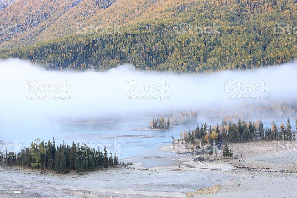 Morning at Kanas river stock photo