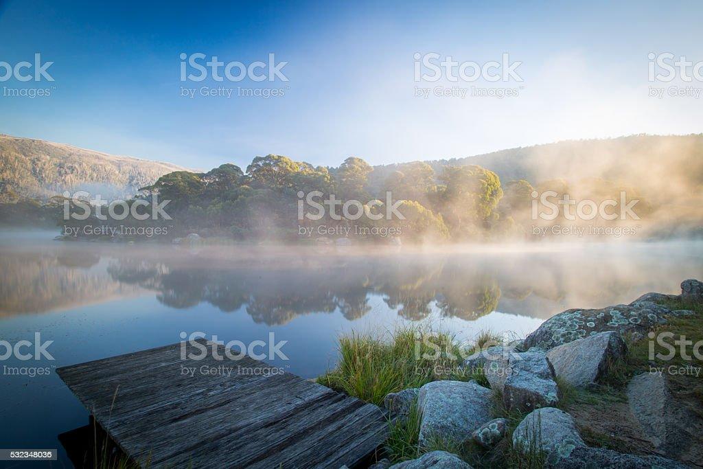Morning at Lake Crackenback stock photo