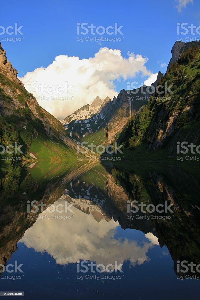 Morning at lake Fahlensee stock photo