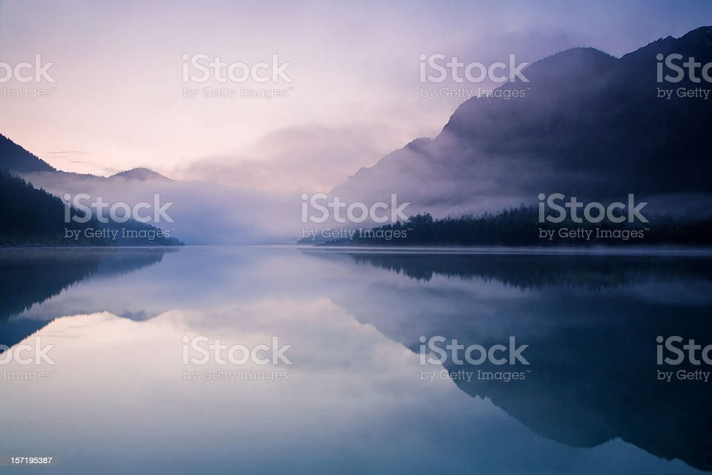 morning at lake plansee stock photo