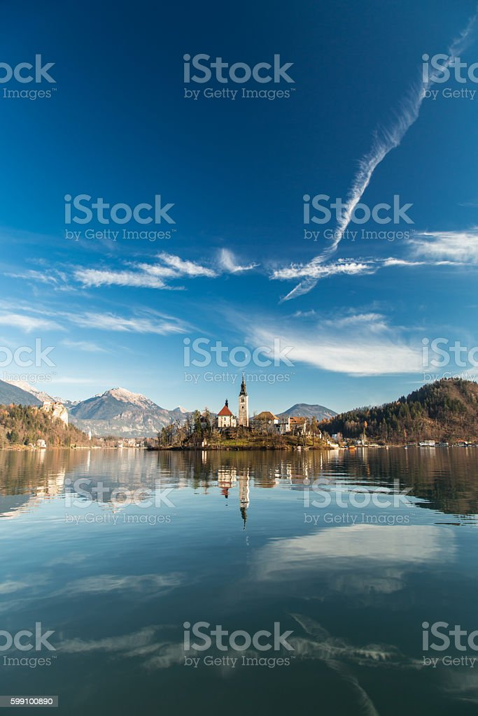 morning at the lake of Bled stock photo