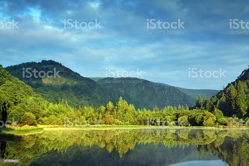 morning at the mountain lake stock photo