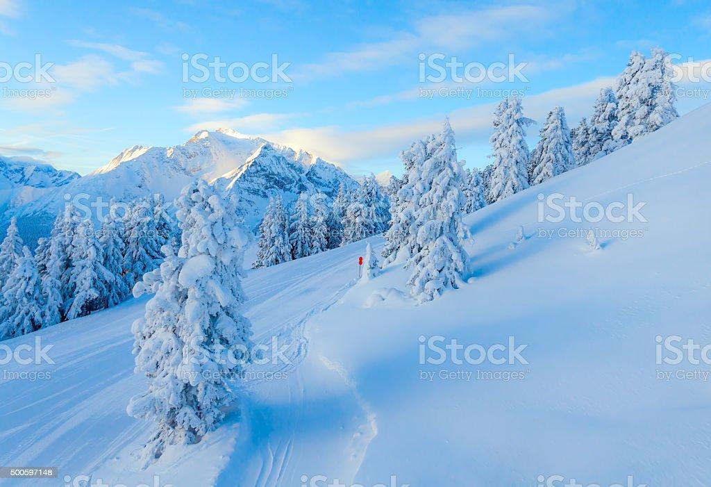 Morning at the ski resort stock photo